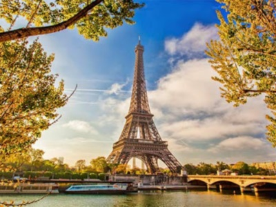 VIew of Eiffel Tower across the river